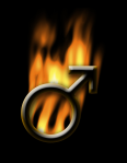 male symbol in flames