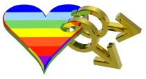 Gold gay sex symbol linked with rainbow heart.